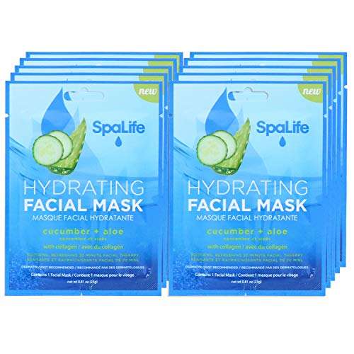 SpaLife Hydrating, Purifying, Anti-Aging, Detoxifying and Soothing Korean Facial Masks (10 Masks (Cucumber + Aloe))