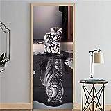 great tiger wall decals 3D Door Decal Door Stickers Decor Door Mural Removable Vinyl Door Wall Mural Door Wallpaper for Home Decor 30.3x78.7 (Cat and Tiger)