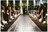 personalized aisle runner - ShinyBeauty 30FTx4FT Silver Sequin Aisle Runner for Weddings for Ourdoor Wedding