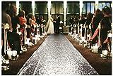 ShinyBeauty Aisle Runner-25FTX4FT-Silver,Aisle Runner Outdoor Wedding,Aisle Runner for Wedding,Sequin Aisle Runner,Aisle Runner Fabric (Silver)