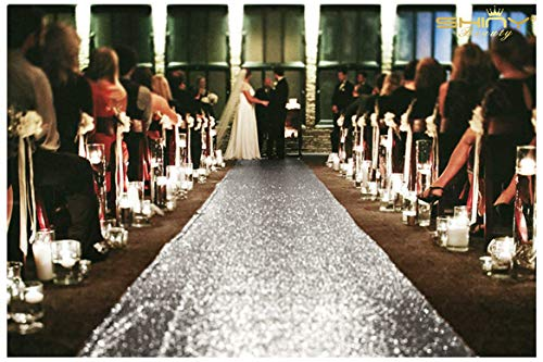ShinyBeauty Aisle Runner-25FTX4FT-Silver,Aisle Runner Outdoor Wedding,Aisle Runner for Wedding,Sequin Aisle Runner,Aisle Runner Fabric (Silver) -