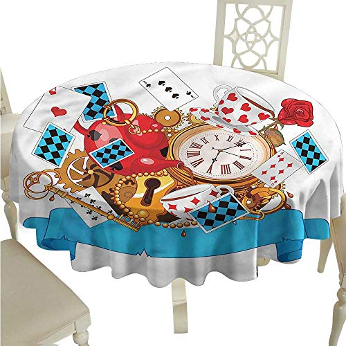 ScottDecor Jacquard Tablecloth Alice in Wonderland,Fantasy World Circular Table Cover Round Tablecloth D 36