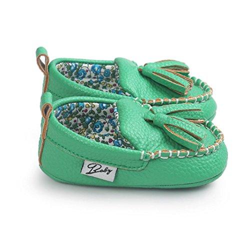 Ouneed® Krabbelschuhe , Baby Mädchen Jungen weiche alleinige lederne Schuhe weiche untere Schuhe flache Schuhe Grün
