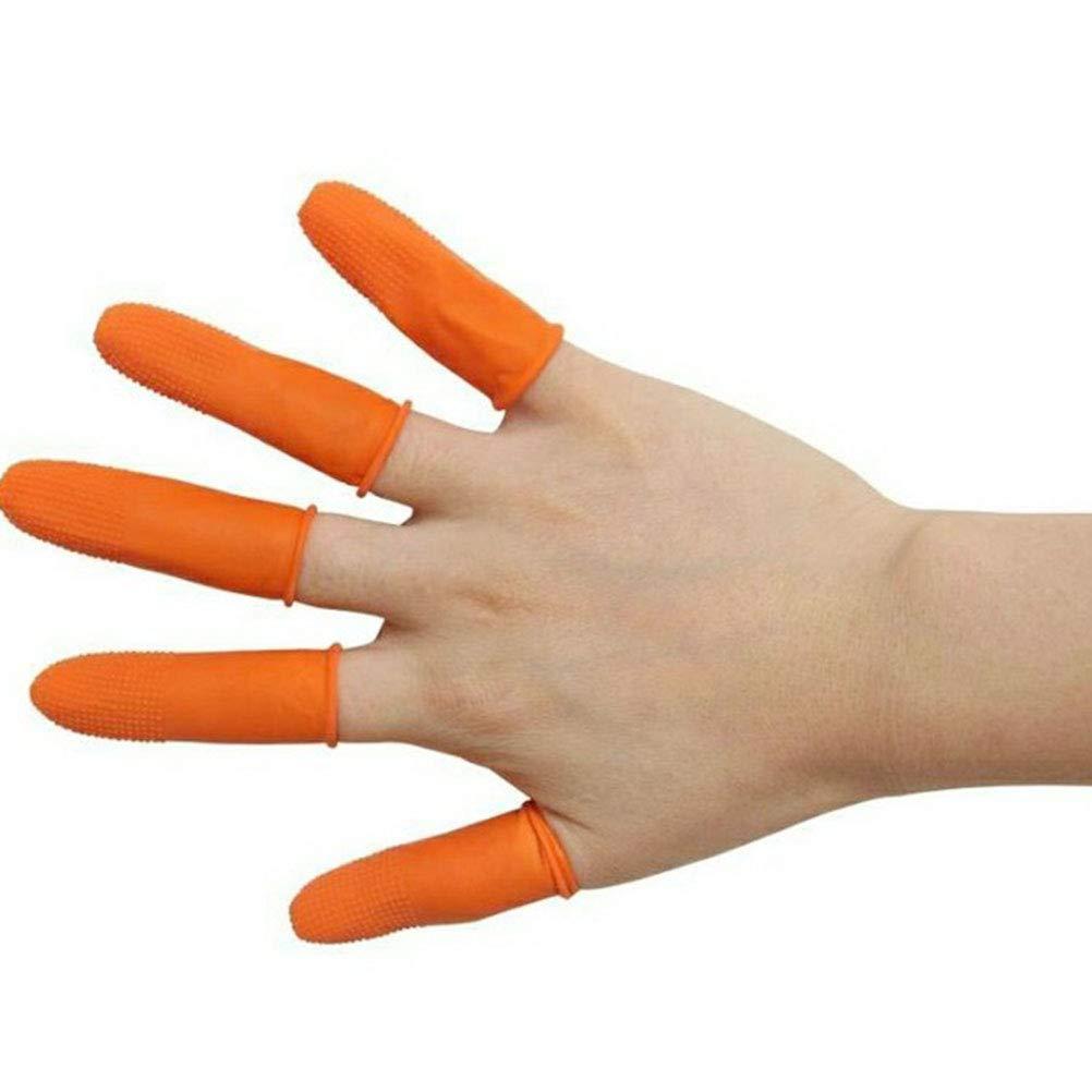 Naranja Healifty Protecci/ón de Dedos de L/átex Desechable Antideslizantes 100pcs Tama/ño S