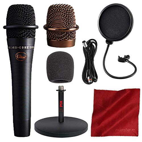 - BLUE Encore 200 Studio Grade Phantom Powered Active Dynamic Microphone, Black with Mic Stand and Accessory Bundle
