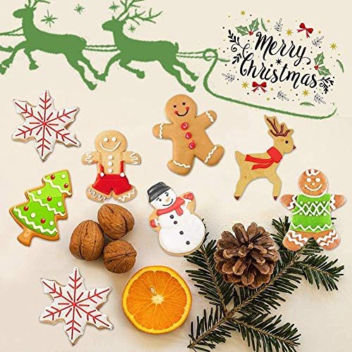 SIHUAN 9PCS Christmas Cookie Cutters Set, Winter Christmas Metal Cookie Cutters with Snowflake, Snowman, Christmas Tree, Candy Cane Cookie Cutters and More