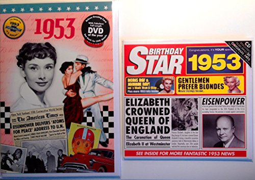 1953 Birthday Gifts Pack - 1953 DVD Film , 1953 Chart Hits CD and 1953 Birthday Card