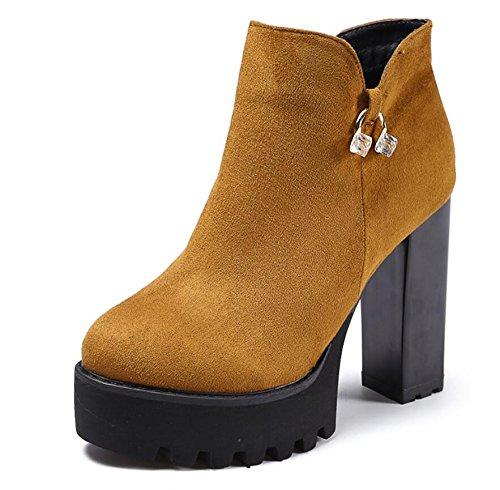 KHSKX-Braun 11 Cm Hoch Mit Weiblichen Stiefel Winter Neue Runden Kopf Wasser Wasser Bohren Seite Reißverschlussaufladungen Rauh Mit Frauen 38