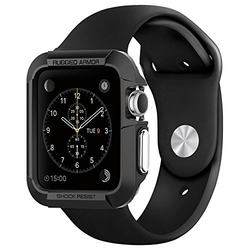 Apple Watch Case Spigen [Rugged Armor] Resilient [Black] - [Include 2 Screen Protectors] Ultimate protection from drops and impacts for Apple Watch 42mm (2015) - Black (SGP11496)