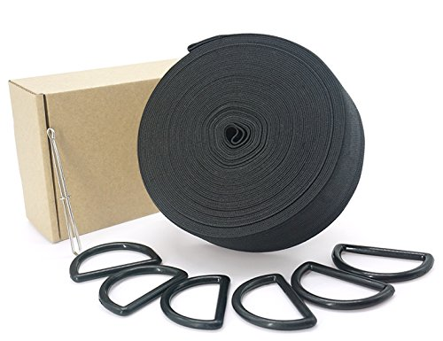 Black Elastic Spool with Bodkin Threader Tweezers and 6 Pcs D Ring (11 Yard, 1.5 Inch)