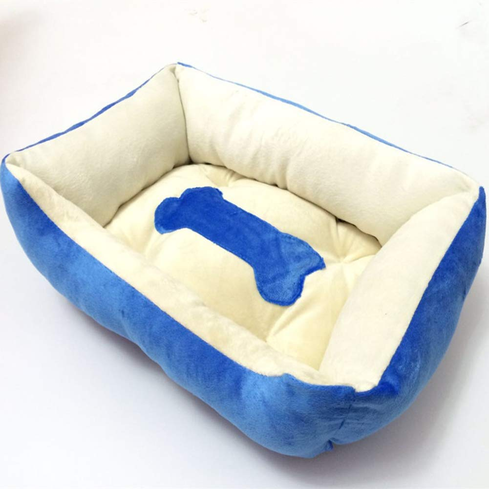 Cat and Dog Mattress Pets in autumn and winter to keep warm large dogs golden Retriever kennel four seasons nest square four corners,bluee,XL