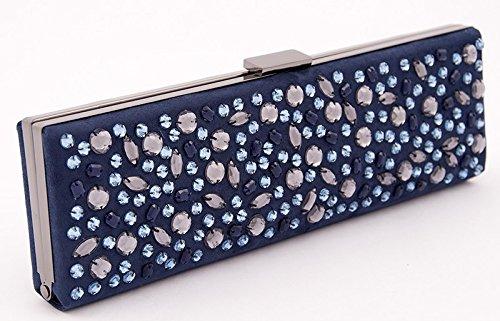 Sac clutch pour femme Lorene, en faux Cuir couleur bleue, dimensions in cm: 28 L x 9 H x 3 p