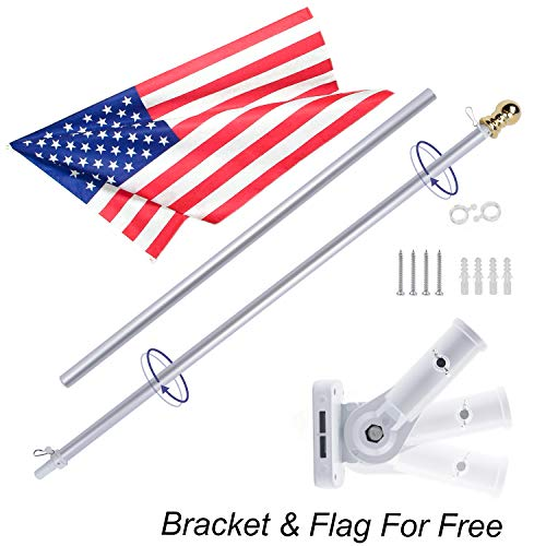 Gientan 5FT Aluminum Tangle Free Spinning Flag Pole Kit with US Flag, Premium Heavy Duty American Flagpole with Stainless Steel Clip & Free Metal Bracket for Residential House or Commercial, Silver by Gientan