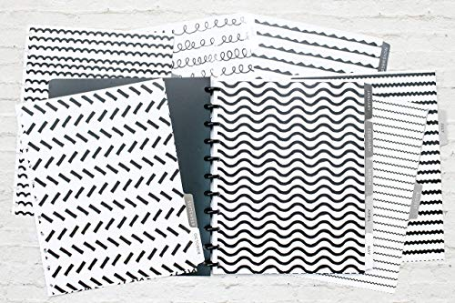 "BetterNote Dividers for Letter Size Discbound Notebook, Tabbed Divider Pages fit 11-Disc Calendar, Fits Levenger Circa, Arc by Staples, TUL by Office Depot, 8.5""x11"" B&W Pattern (Planner Not Included)"
