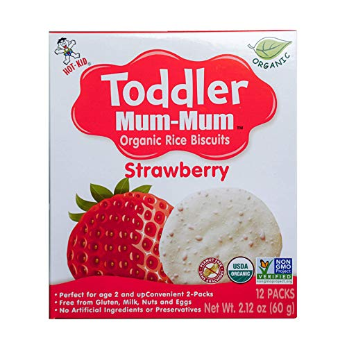 (Hot-Kid Toddler Mum-Mum Rice Biscuits, Organic Strawberry, Organic, Gluten Free, Allergen Free, Non-GMO, 2.12 Ounce,12 Count, Pack of 6)