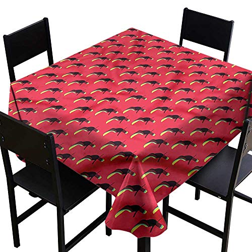 Bird Care Exotic (Anshesix Easy Care Tablecloth Tropical Exotic Toucan Bird Pattern Washable Tablecloth W70 xL70 Waterproof/Oil-Proof/Spill-Proof Tabletop Protector)