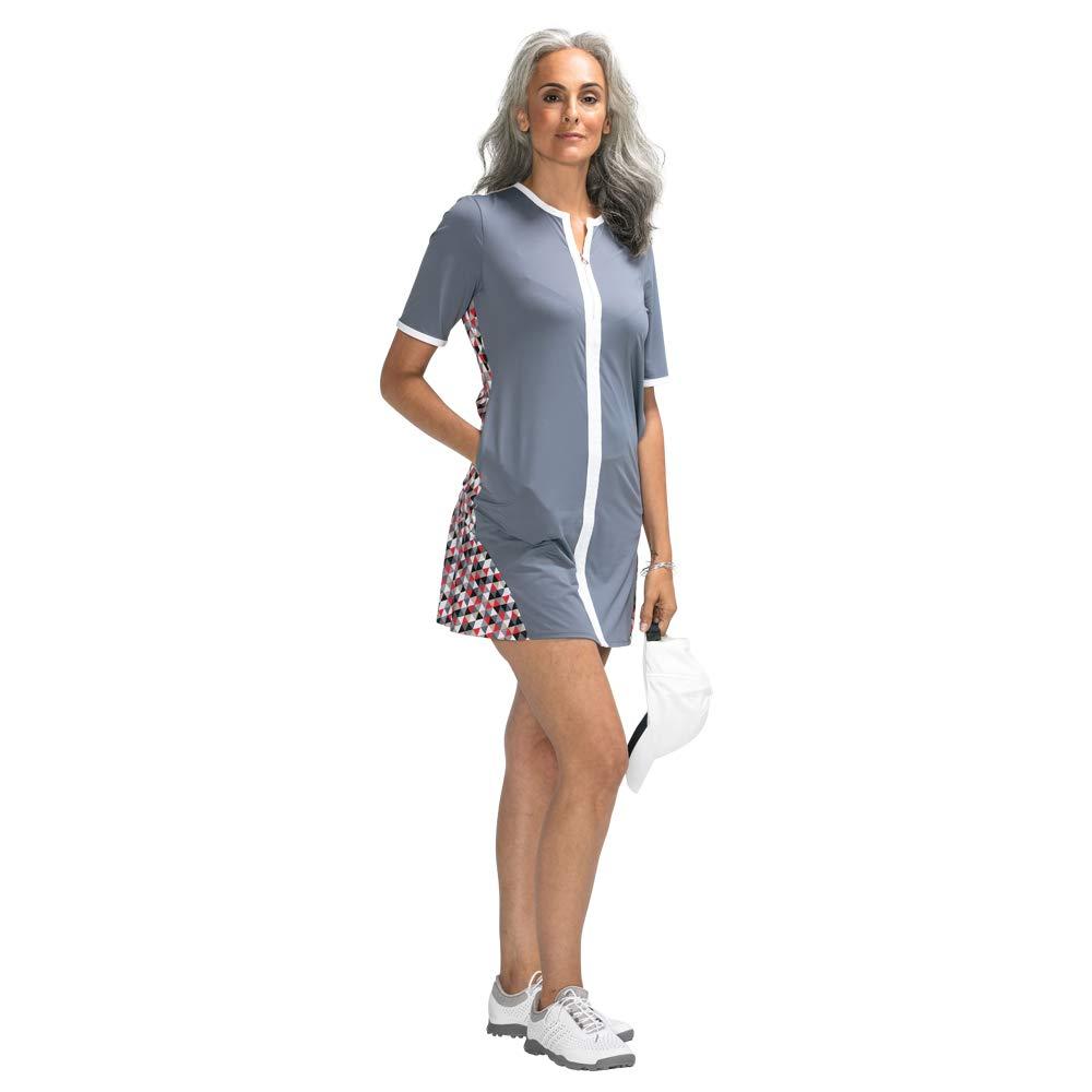 Day to Night Shortsleeve Womens Summer Golf Dress, Grey, Medium