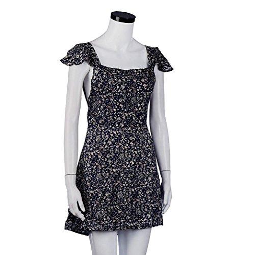 vestidos de mujer,Switchali Mujer verano Moda Floral Correas escotado por detrás Mini vestido casual Camisola Sin mangas ropa nuevo 2017 más popular Azul