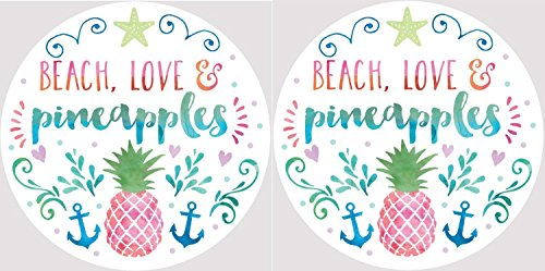 Beach Love and Pink Pineapples Car Coasters Set of 2 by Clementine Designs