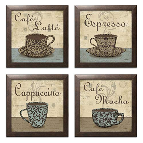 - Lovely, Vintage Espresso, Cafe Latte, Cafe Mocha, Cappuccino Coffee Cup Signs; Kitchen Decor; Four 12 by 12-Inch Brown Framed Prints Ready to hang!