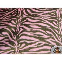 Fleece Printed Zebra Pink Brown Fabric / By the Yard