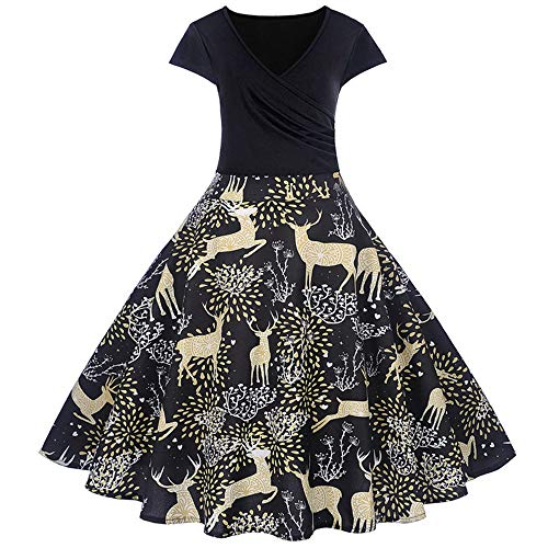 Christmas Womens Vintage Short Sleeve V Neck Dress Lady Printing Gown Evening Party Dress
