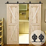 Billion T Shaped Style Big Spoke Wheel Design Roller Sliding Barn Door Hardware Kit For 5FT Double Door
