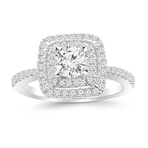 1.15 Ctw Double Row Cushion Square Halo Diamond Engagement Ring (D-E Color SI2-I1 Clarity 0.5 Ct Round Cut - Engagement Ring Diamond Square