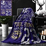Unique Custom Double Sides Print Flannel Blankets Sports Decor Retro American Football College Version Illustration Athletic Championshi Super Soft Blanketry for Bed Couch, Twin Size 60 x 80 Inches