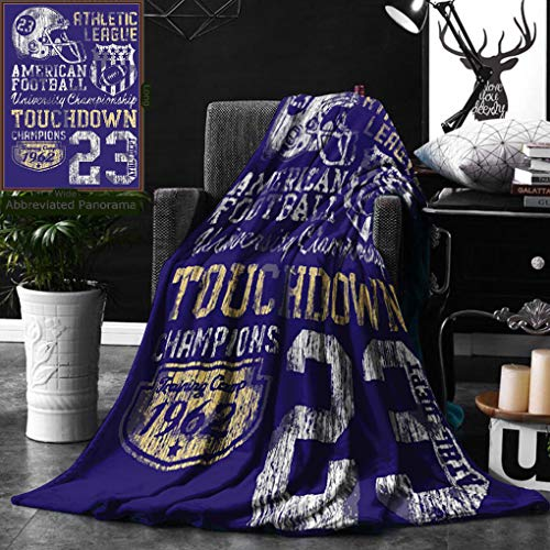 Unique Custom Double Sides Print Flannel Blankets Sports Decor Retro American Football College Version Illustration Athletic Championshi Super Soft Blanketry for Bed Couch, Twin Size 60 x 80 Inches by Ralahome (Image #7)