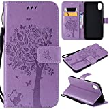 iPhone Xs Max Case,iPhone Xs Max Wallet Case,iPhone Xs Max PU Leather Protective Case Emboss Cat and Tree Folio Magnetic with Card Holder Kickstand Flip Case for iPhone Xs Max 6.5 Inch Light Purple