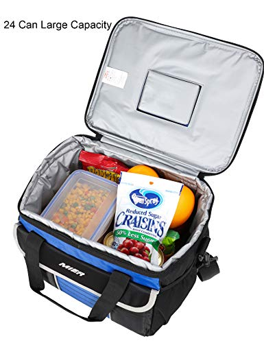 88a698c775c5 MIER Large Soft Cooler Bag Insulated Lunch Box Bag Picnic Cooler Tote with  Dispensing Lid, Multiple Pockets(black and blue)