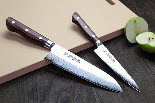 Yoshihiro Vg10 Hammered Damascus Stainless Japanese Chefs Knife Santoku 7Inch and Petty Set (Santoku 7'' (180mm) & Petty 5.3'' (135mm) SET)