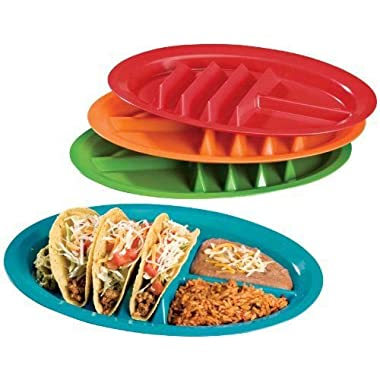Jarratt Industries, Fiesta Taco Plates, Microwave and Dishwasher Safe, Assorted Colors, Set of 4 Plastic Taco Plates