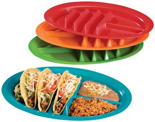 Jarratt Industries, Fiesta Taco Plates, Microwave and Dishwasher Safe, Assorted Colors, Set of 4 Plastic Taco -