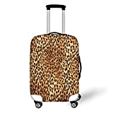 Travel Luggage Cover Suitcase Protector,Animal Print Decor,Wild Animal Leopard Skin Pattern Wildlife Inspired Stylish Modern Illustration,Brown Beige£¬for Travel