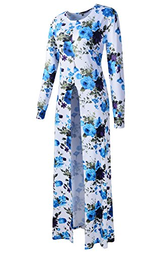 ARCITON Dress 03 Long Sleeve Long Floral Tops Women's Split High Front Maxi w8rawqgxS