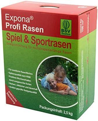 Sport-Rasen und Spiel-Rasen von EXPONA Profi Rasen - Rasensaat für 100m² zur Einsaat und Nachsaat - RSM 3.1 - schnelle Keimung - dichter und saftiger Rasen