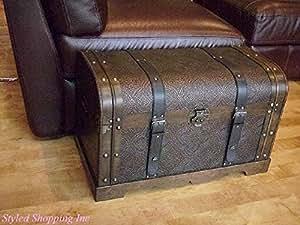 Share Facebook Twitter Pinterest & Amazon.com: Antique Victorian Wood Trunk Wooden Treasure Hope Chest ...