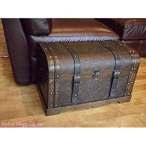 Antique Victorian Wood Trunk Wooden Treasure Hope Chest    Medium Size