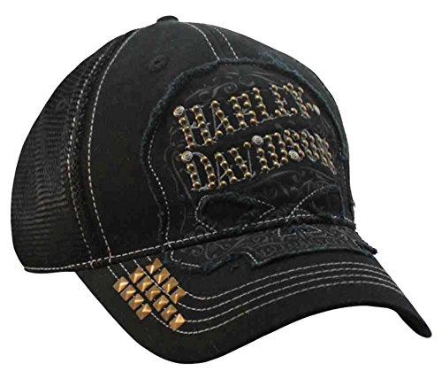 Harley-Davidson Womens Studded Ornate Willie G Skull Baseball Cap, Black BC14630