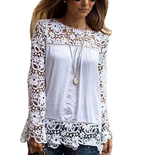 Mousseline Couture Chemise Fleurs Dentelle Soie de ajoure Blanc Longues Manches Chemisier 4aqxr47
