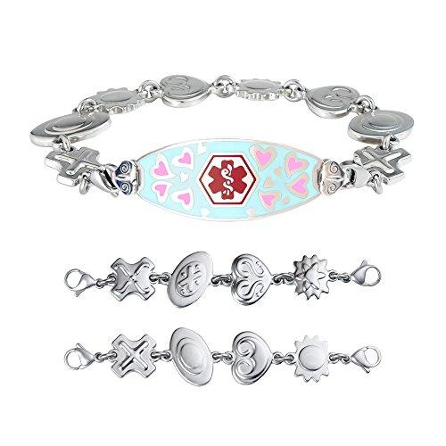 (Divoti Custom Engraved Medical Alert Bracelets for Women, Stainless Steel Medical Bracelet, Medical ID Bracelet w/Free Engraving - Loving Heart Tag w/Retro Reversible Charm Chain-Red - 5