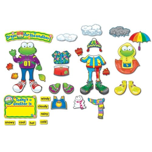 """Wholesale CASE of 15 - Carson Weather Frog Bulletin Board Set-Weather Frog, Frog 14-1/4""""x22"""", 82 Pieces"""