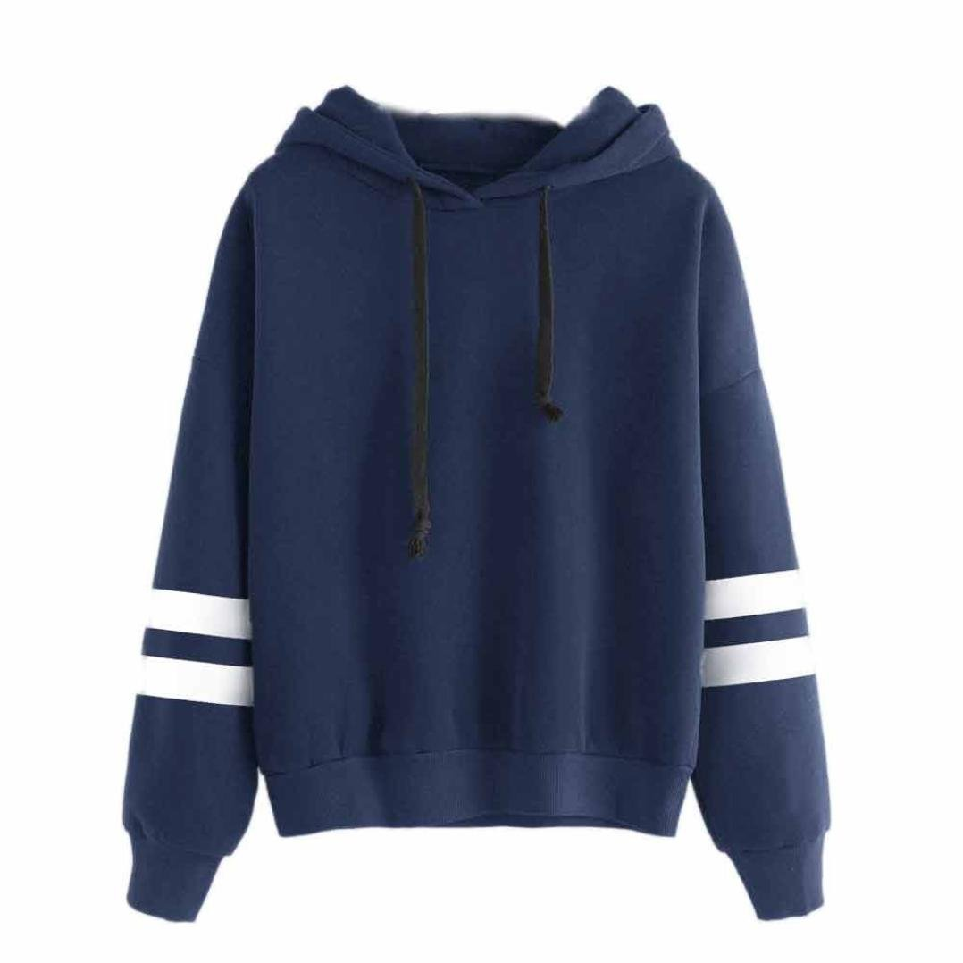 fbR8wawOKPHoYL9 Women's Long Sleeve Hoodie Sweatshirt Colorblock Tie Dye Print Pullover Shirt Blouse (Blue, S)
