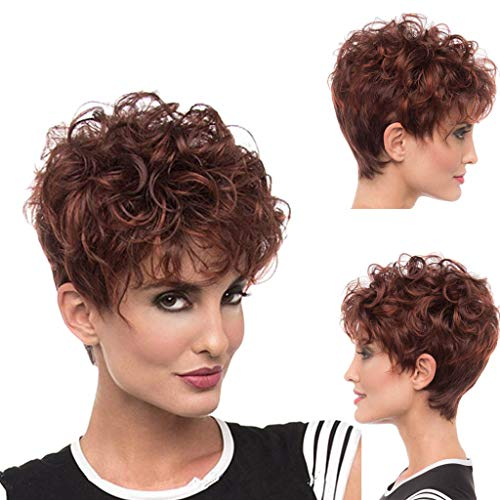 Wig for Women, Fashion Short Straight Hair Personality Fake Headgear Hairstyle,Natural Hair Wigs for Black Women]()