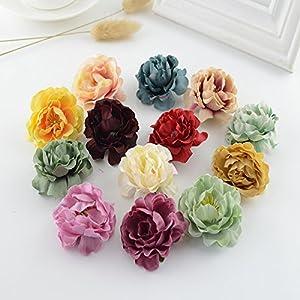 XGM GOU 100Pcs European Retro Silk Tea Roses Head Wedding Decor for Home Accessories Candy Box Gift DIY Bride Bouquet Artificial Flowers 35