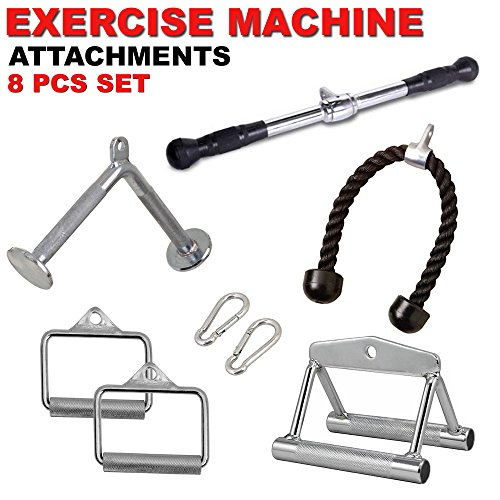 FITNESS MANIAC Cable Machine Attachments Handle Pressdown Weightlifting Exercise Tricep Bar Combo 8PC Set by FITNESS MANIAC