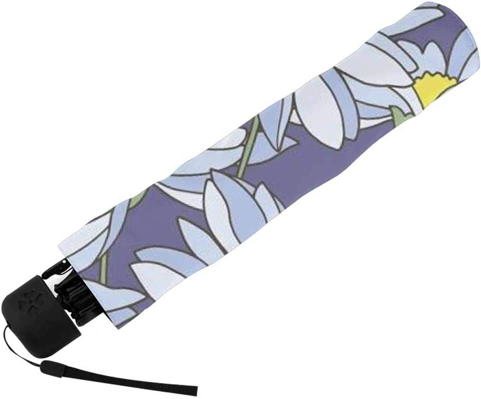 InterestPrint Custom Small Daisy Florals Anti Sun UV Foldable Travel Compact Umbrella
