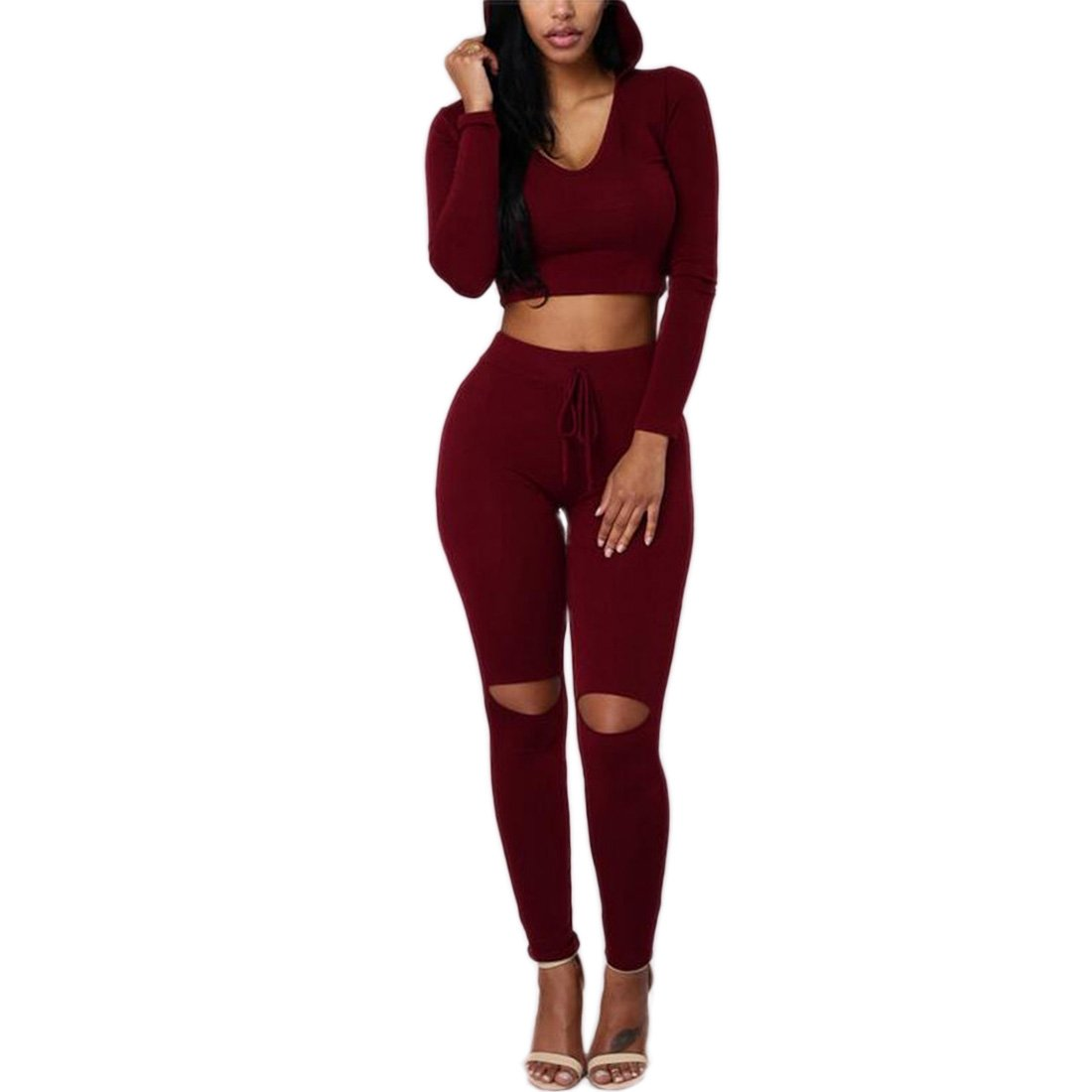 fe82df5bbb72 YYF Womens Casual Hooded Two Pieces Jumpsuit Long Sleeve Bodycon Hoodies  and Frayed Pants Jumpsuit  Amazon.co.uk  Clothing